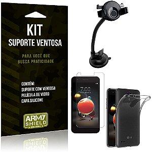 Suporte Ventosa Auto LG K9 Suporte + Capa Silicone + Película Vidro - Armyshield