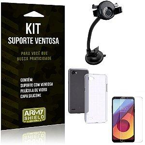 Suporte Ventosa Auto LG Q6 - Q6 Plus Suporte + Capa Silicone + Película Vidro - Armyshield