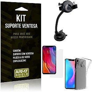 Suporte Ventosa Auto Xiaomi Mi 8 Suporte + Capa Silicone + Película Vidro - Armyshield