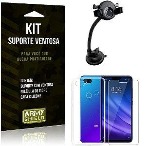 Suporte Ventosa Auto Xiaomi Mi 8 Lite Suporte + Capa Silicone + Película Vidro - Armyshield