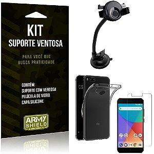 Suporte Ventosa Auto Xiaomi Mi A1 (Mi 5X) Suporte + Capa Silicone + Película Vidro - Armyshield