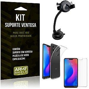 Suporte Ventosa Auto Xiaomi Mi A2 Lite (Redmi 6 Pro) Suporte + Capa +Película Vidro - Armyshield