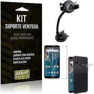 Suporte Ventosa Auto Xiaomi Mi A2 (Mi 6X) Suporte + Capa Silicone + Película Vidro - Armyshield