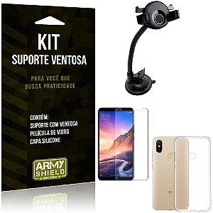 Suporte Ventosa Auto Xiaomi Mi Max 3 Suporte + Capa Silicone + Película Vidro - Armyshield