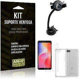 Suporte Ventosa Auto Xiaomi Redmi 6A Suporte + Capa Silicone + Película Vidro - Armyshield