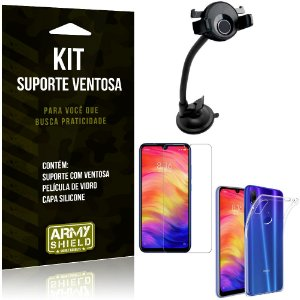 Suporte Ventosa Auto Redmi Note 7 Pro Suporte + Capa Silicone + Película Vidro - Armyshield