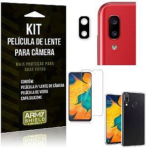 Película Flexível para Câmera Galaxy A20 Película + Capa Silicone + Película Vidro - Armyshield