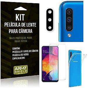 Película Flexível para Câmera Galaxy A50 Película + Capa Silicone + Película Vidro - Armyshield