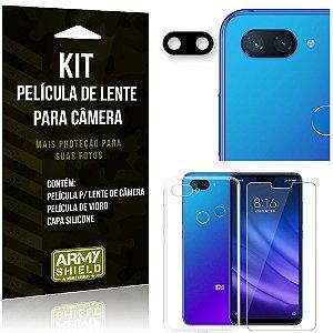 Película Flexível para Câmera Xiaomi Mi 8 Lite Película + Capa Silicone +Película Vidro - Armyshield
