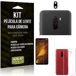 Película Flexível para Câmera Xiaomi Pocophone F1 Película + Capa + Película Vidro - Armyshield