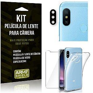Película Flexível para Câmera Redmi Note 6 Pro Película + Capa Silicone +Película Vidro - Armyshield