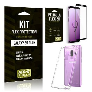 Kit Flex Protection Samsung S9 Plus Capa Anti Impacto + Película Flex 5D - Armyshield