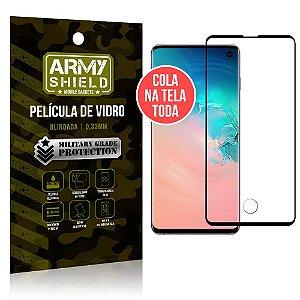 Película de Vidro Elite Cola na Tela Toda Samsung Galaxy S10 - Armyshield
