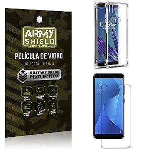 Kit Anti Impacto Zenfone Max M1 ZB555KL Capinha Anti Impacto + Película Vidro - Armyshield