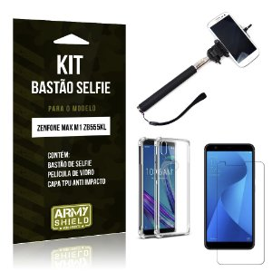 Kit Bastão de Selfie Zenfone Max M1 ZB555KL Bastão + Capinha Anti Impac +Película Vidro - Armyshield