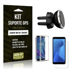 Kit Suporte Veicular Magnético Zenfone Max M1 ZB555KL + Capa Anti +Película Vidro - Armyshield