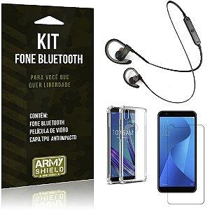 Kit Fone Bluetooth Sport 907 Zenfone Max M1 ZB555KL Fone + Capa Anti + Película Vidro - Armyshield