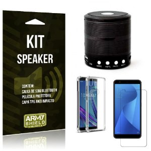 Kit Mini Speaker Zenfone Max M1 ZB555KL Caixa de Som Bluetooth + Capa Anti + Película - Armyshield