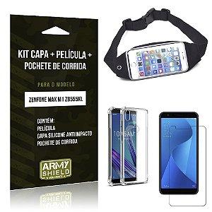 Kit Pochete Zenfone Max M1 ZB555KL Pochete + Capinha Anti Impacto + Película Vidro - Armyshield