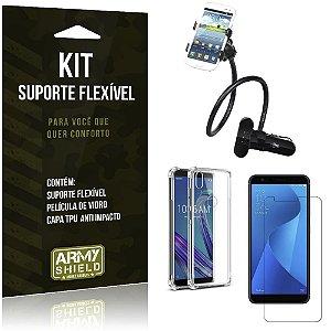 Kit Suporte Flexível Zenfone Max M1 ZB555KL Suporte + Capa Anti Impacto +Película Vidro - Armyshield