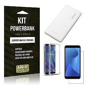 Kit Carregador Portátil 10K Zenfone Max M1 ZB555KL Powerbank+ Capa Anti +Película Vidro - Armyshield