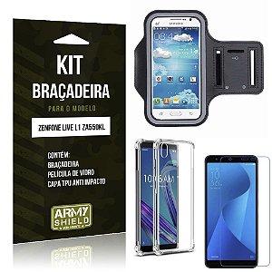 Kit Braçadeira Zenfone Live L1 ZA550KL Braçadeira + Capa Anti Impacto + Película Vidro - Armyshield