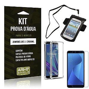 Kit Prova D'água Zenfone Live L1 ZA550KL Capa a Prova D'água + Capa Anti + Película - Armyshield