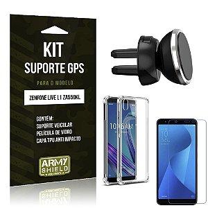 Kit Suporte Veicular Magnético Zenfone Live L1 ZA550KL + Capinha Anti + Película - Armyshield