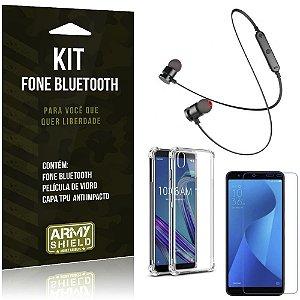 Kit Fone Bluetooth Sport 901 Zenfone Live L1 ZA550KL Fone + Capa Anti + Película Vidro - Armyshield