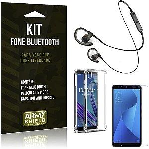 Kit Fone Bluetooth Sport 907 Zenfone Live L1 ZA550KL Fone + Capa Anti + Película Vidro - Armyshield