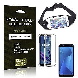 Kit Pochete Zenfone Live L1 ZA550KL Pochete + Capinha Anti Impacto + Película Vidro - Armyshield