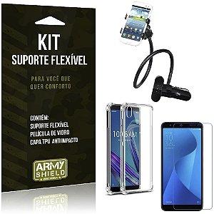 Kit Suporte Flexível Zenfone Live L1 ZA550KL Suporte + Capinha Anti + Película Vidro - Armyshield