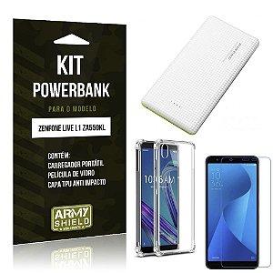 Kit Carregador Portátil 10K Zenfone Live L1 ZA550KL Powerbank + Capa Anti + Película - Armyshield