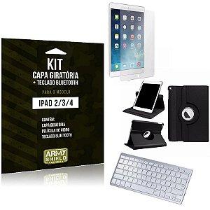 Kit Apple iPad 2 3 4 Geração Capa Giratória + Teclado Bluetooth + Película de Vidro - Armyshield