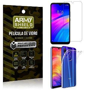 Kit Capa Silicone Xiaomi Redmi 7 Capa Silicone + Película de Vidro - Armyshield
