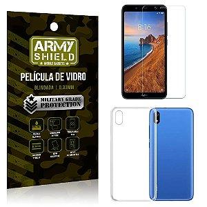 Kit Capa Silicone Xiaomi Redmi 7A Capa Silicone + Película de Vidro - Armyshield