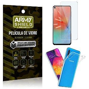 Kit Capa Silicone Samsung A60 Capa Silicone + Película de Vidro - Armyshield