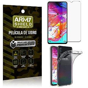 Kit Capa Silicone Samsung A70 Capa Silicone + Película de Vidro - Armyshield