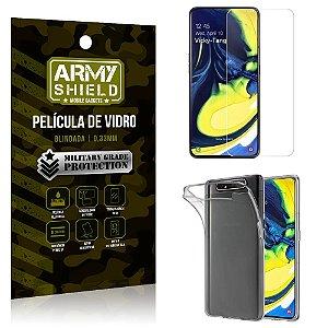 Kit Capa Silicone Samsung A80 Capa Silicone + Película de Vidro - Armyshield