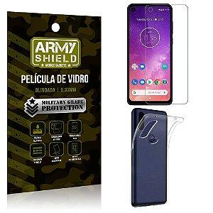 Kit Capa Silicone Motorola One Vision Capa Silicone + Película de Vidro - Armyshield