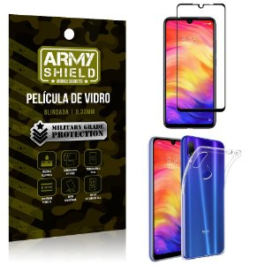 Kit Película de Vidro 3D Xiaomi Redmi 7 Película de Vidro 3D + Capa Silicone - Armyshield