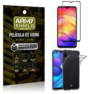 Kit Película de Vidro 3D Xiaomi Redmi Note 7 Película de Vidro 3D + Capa Silicone - Armyshield