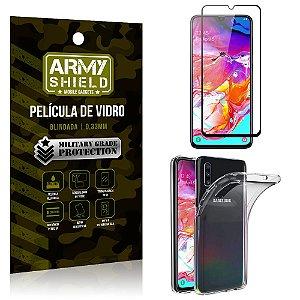 Kit Película de Vidro 3D Samsung A70 Película de Vidro 3D + Capa Silicone - Armyshield