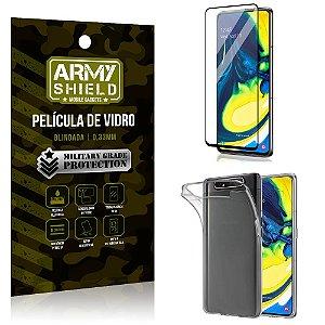 Kit Película de Vidro 3D Samsung A80 Película de Vidro 3D + Capa Silicone - Armyshield
