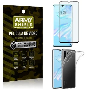 Kit Película de Vidro 3D Huawei P30 Pro Película de Vidro 3D + Capa Silicone - Armyshield