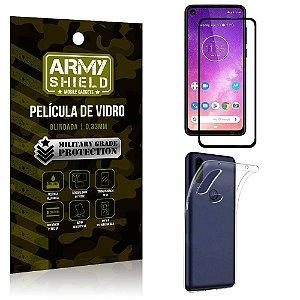 Kit Película de Vidro 3D Motorola One Vision Película de Vidro 3D + Capa Silicone - Armyshield