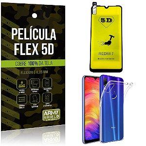 Kit Película Flex 5D Xiaomi Redmi 7 Cobre a tela toda Película Flex 5D + Capa TPU - Armyshield