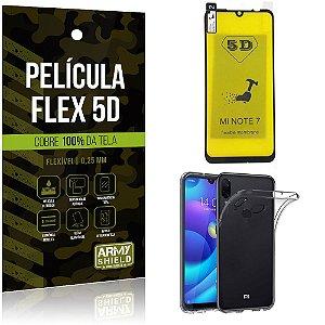 Kit Película Flex 5D Xiaomi Redmi Note 7 Cobre a tela toda Película Flex 5D + Capa TPU - Armyshield