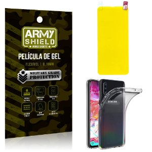 Kit Película de Gel Samsung A70 Película de Gel + Capa Silicone - Armyshield