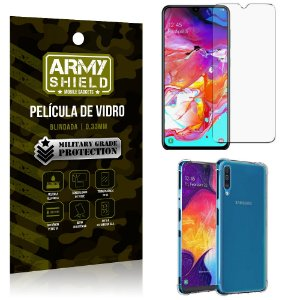 Kit Capa Anti Impacto Samsung A70 Capa Anti Impacto + Película de Vidro - Armyshield